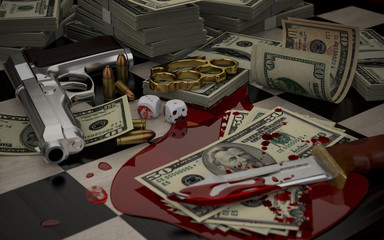 Gun, brass knuckles, blood and money