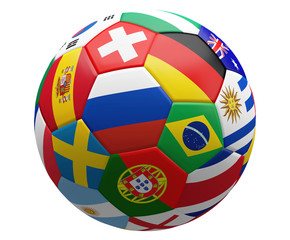 soccer football ball with national flags 3d rendering isolated design