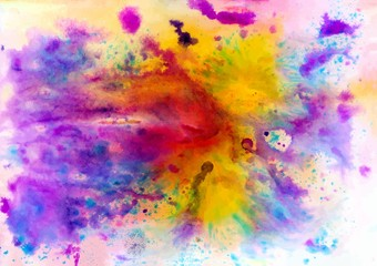 Colorful abstract ink texture with splashes and spatters. Modern creative background for trendy design.
