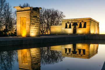 Sunset view of Temple of Debod in City of Madrid, Spain