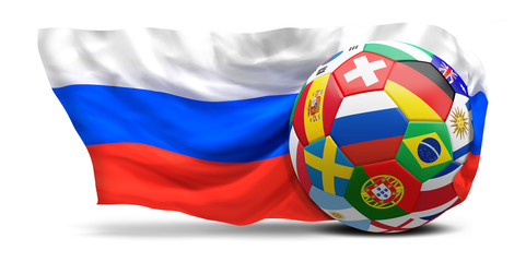 soccer football ball with national flags and waving falg of Russia 3d rendering isolated design