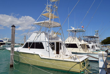 Charter deep sea fishing boats moored at a marina on Haulover Beach inlet in southeast florida