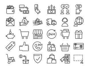 Online business, ecommerce, shop, market thin line icons. Vector Design illustration set with signs and symbols related with sales and commerce online.