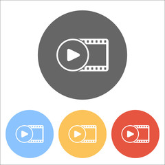movie strip with play symbol in circle. simple silhouette. Set o