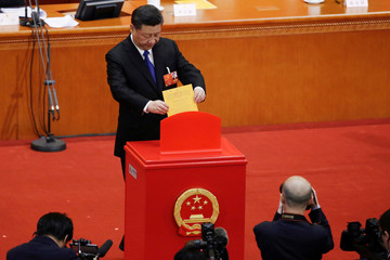Chinese President Xi Jinping casts his ballot at the seventh plenary session of the National People's Congress (NPC)
