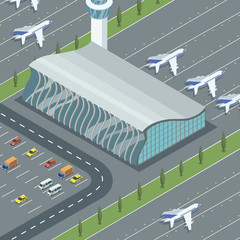 Isometric view of modern airport building with parking and jets from above.