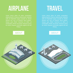 Isometric view of Airplane and Travel banners with airport buildings on blue and green background.