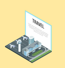 Isometric view of modern airport building with planes and big Travel banner on yellow background.