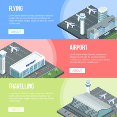 Multicolored airport banners with jets and buildings in isometric view.
