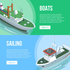 Isometric view of Boats and Sailing banners with different ships on multicolored background.