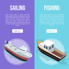 Isometric view of Sailing and Fishing banners with boats on blue and purple background.