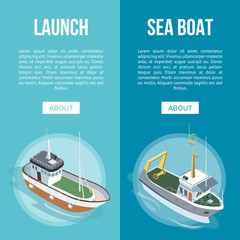 Launch and Sea Boat banners with ships in isometric view on blue background.
