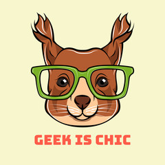 Cartoon squirrel geek. Squirrel in smart eyeglasses. Vector illustration.