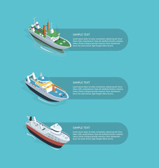 Isometric viewof different models of boats sailing in the water with description frames.
