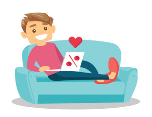 Young caucasian white man using laptop computer for online shopping. Smiling man lying on the couch and making online shopping order on sale. Vector cartoon illustration isolated on white background.