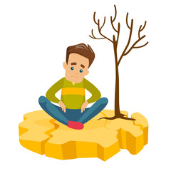 Young frustrated caucasian white man sitting on cracked earth near a dry tree because of drought. Concept of climate change and global warming. Vector cartoon illustration isolated on white background
