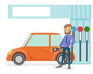 Young caucasian white businessman in suit filling up fuel into the car at the gas station. Hipster man with beard refueling a car. Vector cartoon illustration isolated on white background.