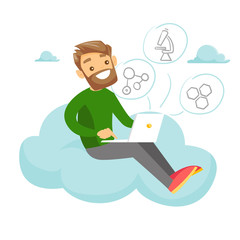 Young caucasian white college student sitting on the cloud with a laptop. Man using cloud computing technologies. Concept of elearning and cloud computing. Vector cartoon illustration. Square layout.