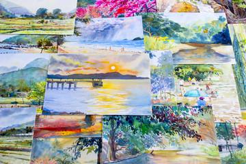 Painting watercolor landscape original colorful of the memories