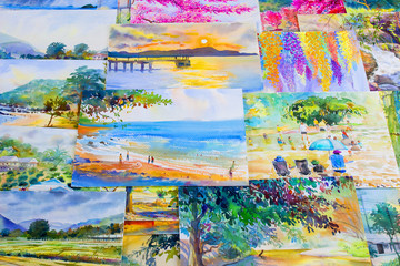 Painting watercolor landscape original colorful of the memories.