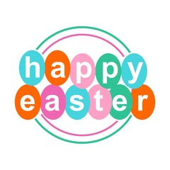 happy easter logo. card design. sticker. greeting. template. vector illustration