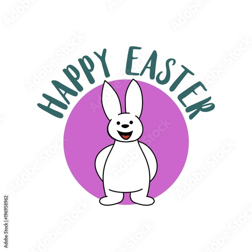 happy easter logo card design sticker greeting template vector