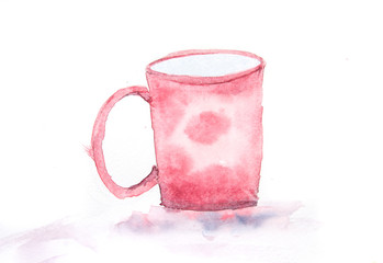 Red coffee cup on white, watercolor illustrator