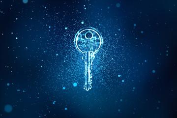 Digital key in keyhole in information security concept background, illustration