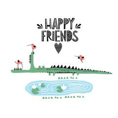 Crocodile and bird illustration vector for print. Happy friends. happy bunny in a rocket