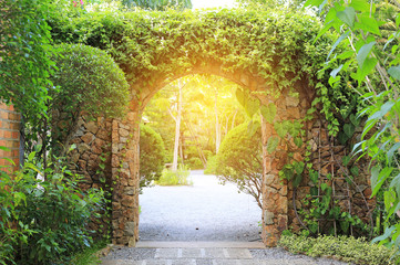 Stone arch entrance gate covered with ivy. Archway to the park with sunlight.