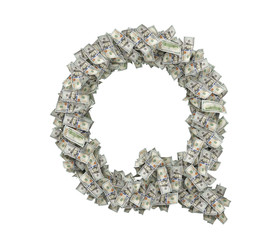 3d rendering of a large isolated letter Q made of dollar banknotes on a white background.