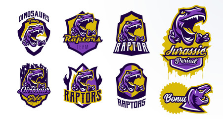 A collection of logos, badges, stickers, dinosaur emblems and its sharp teeth. Dangerous beast, predator of the Jurassic period, animal, mascot. Lettering, shield, print. Vector illustration