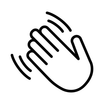 Hand wave / waving hi or hello gesture line art vector icon for apps and websites