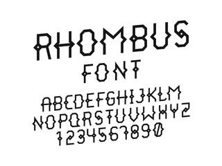 Rhombus italic font. Vector alphabet