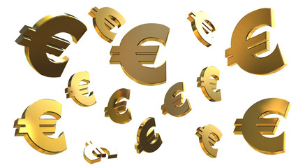 flying 3d symbols of currency isolated on white background