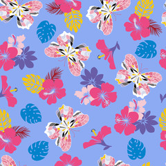 flower hibiscus and flying butterflies Seamless tropical pattern