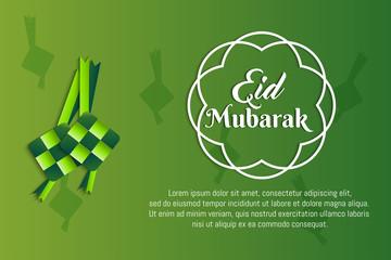 Ketupat eid mubarak paper cut art illustration