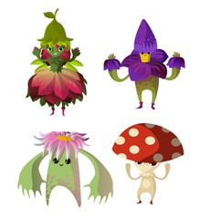 cute tiny flower nature character