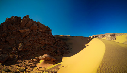 Color shadows at dunes in Tassili nAjjer national park, Algeria