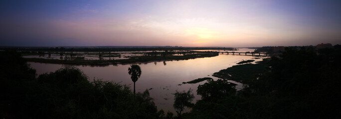 Printed kitchen splashbacks River Aerial view to Niger river in Niamey at sunset Niger