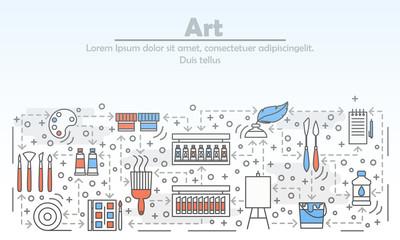 Art advertising vector flat line art illustration