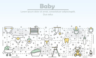 Baby concept vector flat line art illustration
