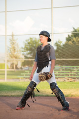Young Catcher Ready for the Ball