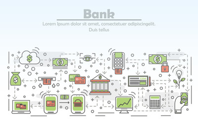 Bank advertising concept vector flat line art illustration