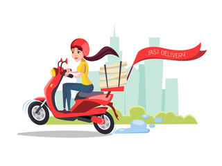 Vector cartoon girl riding scooter. Delivery food pizza service poster background template with female character on motorcycle delivering packages box with smile. Transportation company promo design