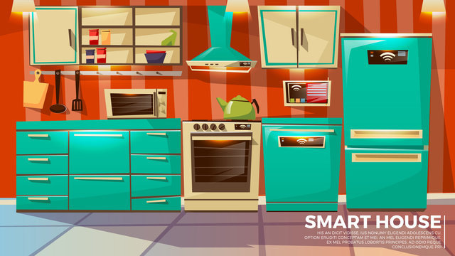 Smart kitchen interior background vector illustration of home wireless control technology. Cartoon flat design of smart kitchen wi-fi appliances refrigerator and dishwasher and microwave oven