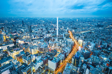 Fotobehang Eiffeltoren Asia business concept for real estate and corporate construction - panoramic modern city skyline aerial view of Ikebukuro and expressway in tokyo, Japan