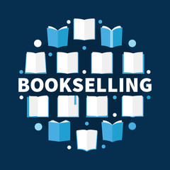 Bookselling round flat vector illustration - creative books sign