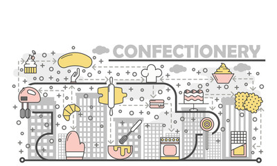 Confectionery concept vector flat line art illustration