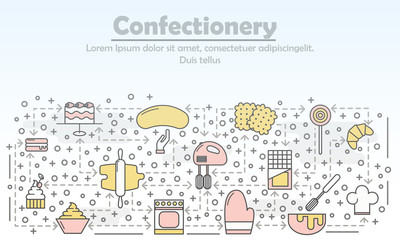 Confectionery advertising vector flat line art illustration